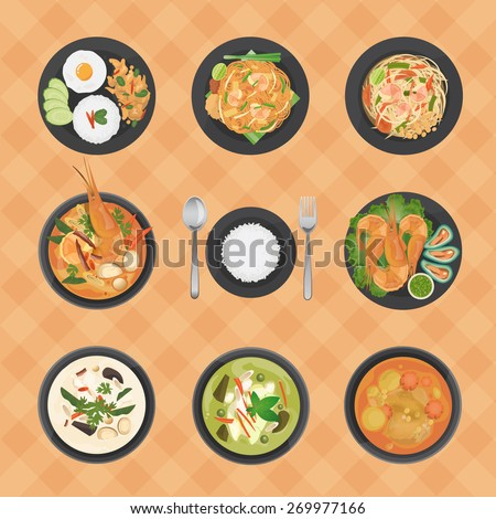 Vector illustration of Thai foods collection,top view various Thai dishes - stock vector