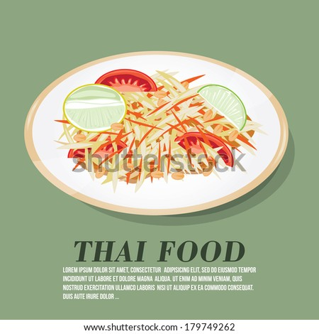 Vector illustration of Thai papaya salad