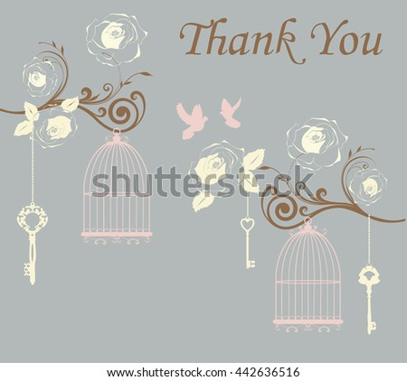 vector illustration of thank you card with doves and cages