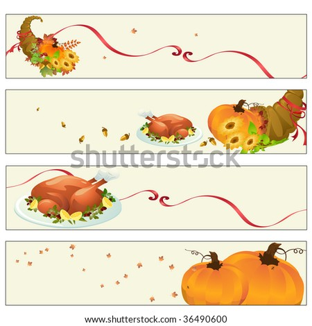 Vector illustration of thanksgiving banners - stock vector