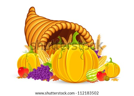 vector illustration of Thanksgiving cornucopia with vegetable - stock vector