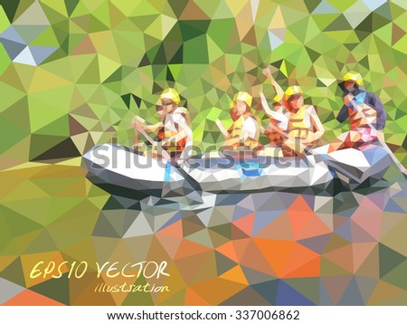 vector illustration of the adventure rafting in a river - stock vector