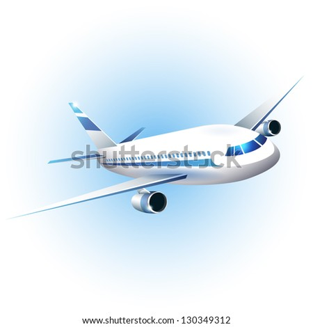 Vector illustration of the airplane - stock vector