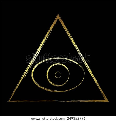 Vector illustration of The all-seeing eye. Gold and black. - stock vector