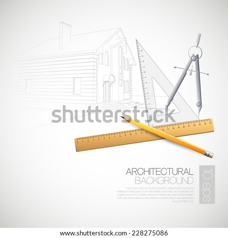 Vector illustration of the architectural drawings and drawing tools - stock vector