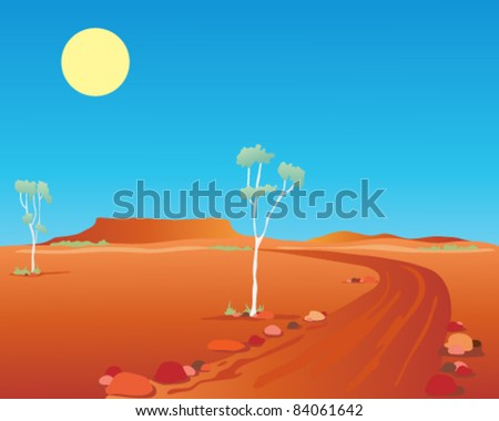 vector illustration of the australian outback with gum trees and a dirt road running through the desert towards distant mountains in eps 10 format - stock vector