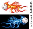 vector illustration of the baseball in fire - stock photo