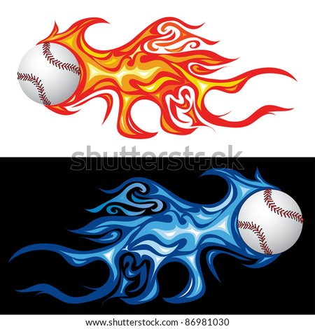 vector illustration of the baseball in fire - stock vector