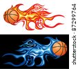 vector illustration of the basketball in flame - stock photo