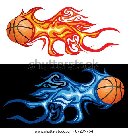 vector illustration of the basketball in flame - stock vector
