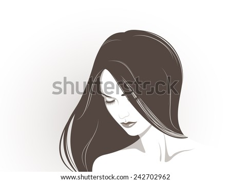 Vector illustration of the beautiful girl with long hair - stock vector