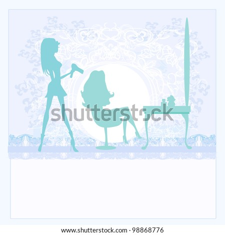 Vector illustration of the beautiful woman in hairdressing salon - stock vector