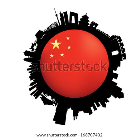 Vector illustration of the Beijing Skyline with Flap in a sphere