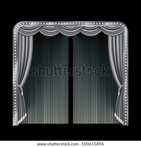vector illustration of the black and white stage - stock vector