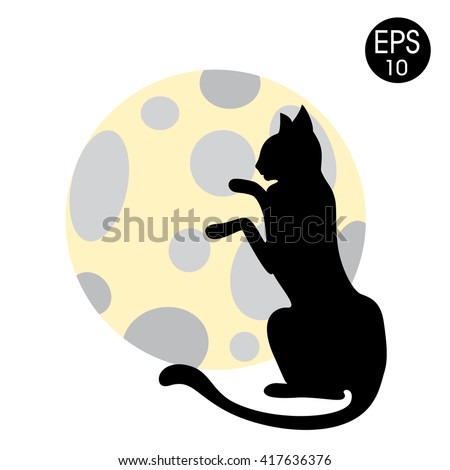 vector illustration of the Black cat and full Moon - stock vector