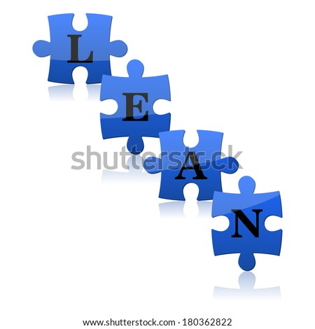 Vector illustration of the blue puzzles with word lean. Lean is modern strategy of improvement productivity. - stock vector