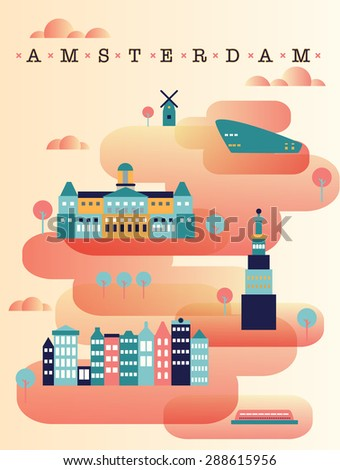 vector illustration of the capital of Holland. Amsterdam panorama. Flat candy style. Sweet as love;) - stock vector