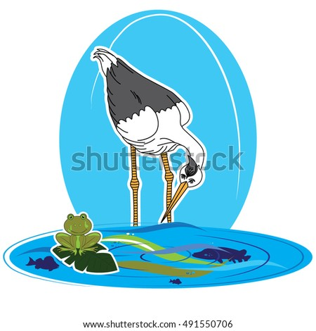Vector Illustration of the cartoon heron and frog on the leaf