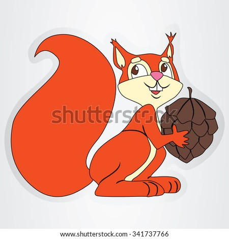 Vector illustration of the cartoon squirrel with brown cone. - stock vector