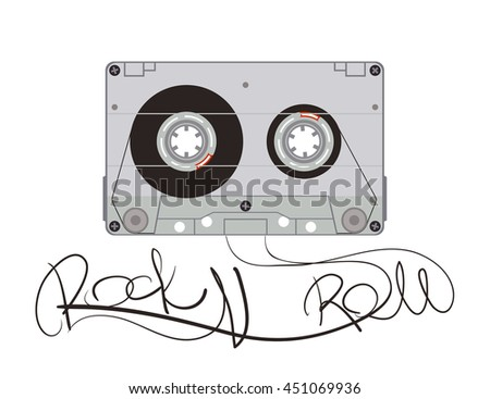 Vector illustration of the cassette with text rock and roll.