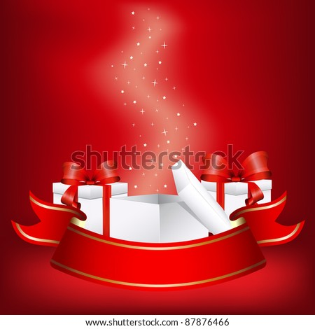Vector illustration of the christmas gifts with a red ribbon - stock vector