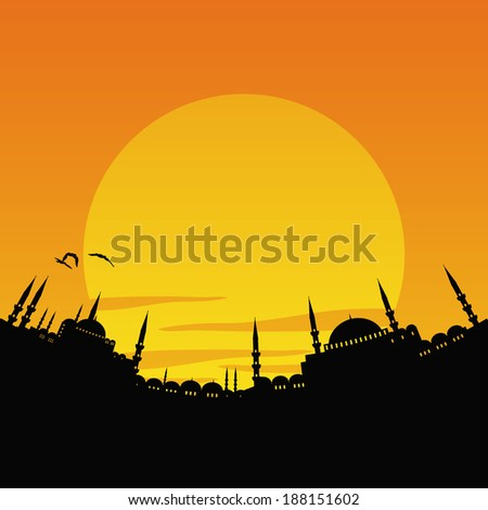 vector illustration of the cityscape of Istanbul - stock vector