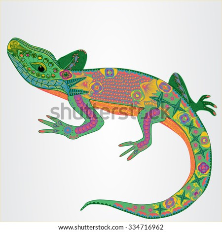 Vector illustration of the colored lizard in zentangle style - stock vector