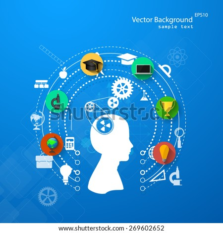 Vector illustration of the concept of training with flat icons. - stock vector
