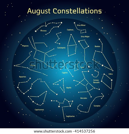 Vector illustration of the constellations of the night sky in August. Glowing a dark blue circle with stars in space Design elements relating to astronomy and astrology - stock vector