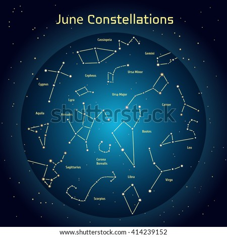 Vector illustration of the constellations of the night sky in June. Glowing a dark blue circle with stars in space Design elements relating to astronomy and astrology - stock vector