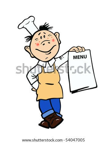 Vector illustration of the cook with menu form