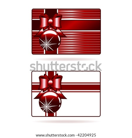 Vector illustration of the decorated gift cards with red ribbon, bow and ball