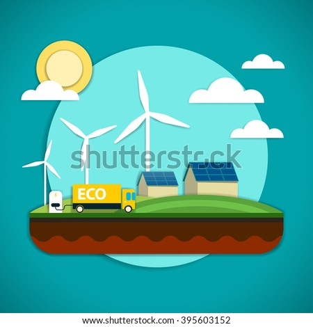 Vector illustration of the elements of the environmental technology such as wind power plant, solar battery and electric car which is preserving the environment - stock vector