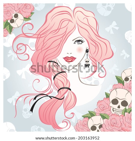 Vector illustration of the emo beautiful girl - stock vector