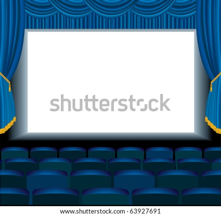 vector illustration of the empty blue cinema with free bottom layer for your image - stock vector