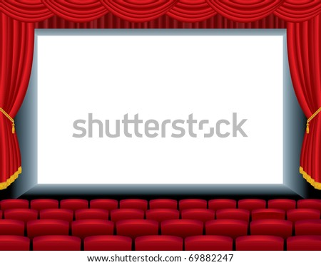 vector illustration of the empty cinema with free bottom layer for your image - stock vector