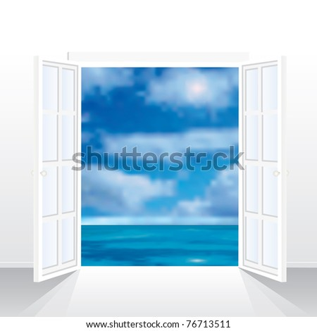vector illustration of the empty room with view on sea - stock vector