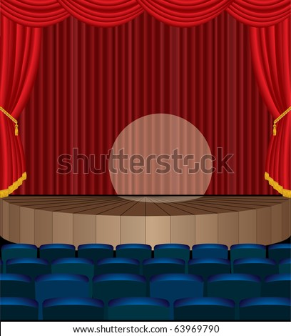 vector illustration of the empty theater with red curtain, eps 10 file - stock vector