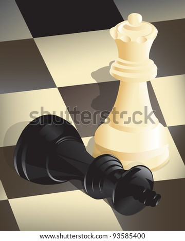 Vector illustration of the end of a chess game after a player has won. - stock vector