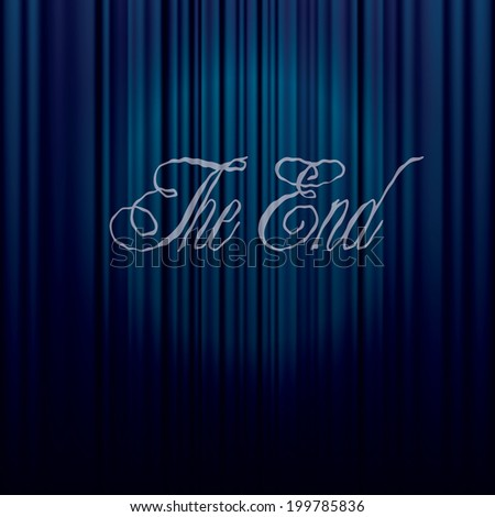 vector illustration of the end of the movie on blue curtain - stock vector