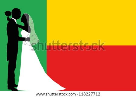 Vector illustration of the flag of Benin with a bride and groom coloured silhouette