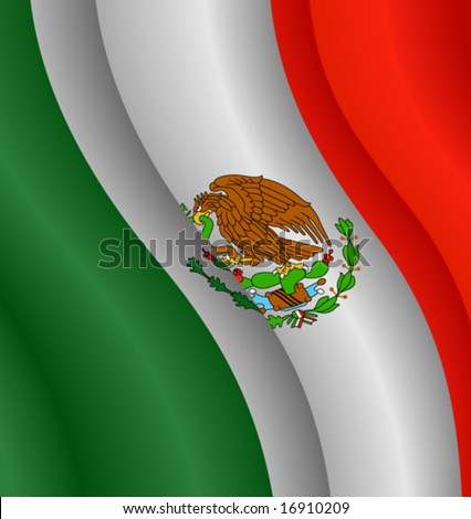 Vector illustration of the flag of Mexico - stock vector