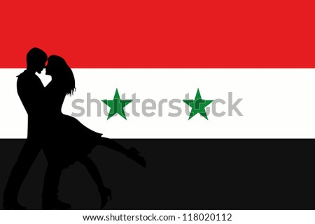 Vector illustration of the flag of Syria silhouette of a couple in love