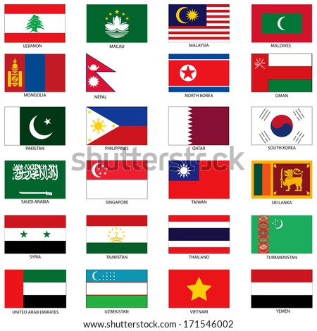 Vector Illustration of the Flags of different countries of the world. They are organized by location then in alphabetical in order. Dozens of flags in each file and hundreds all together. - stock vector