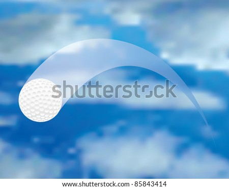 vector illustration of the flying golf ball - stock vector