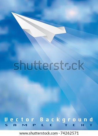 vector illustration of the flying paper plane, eps 10 file - stock vector
