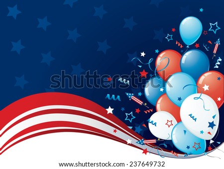 Vector illustration of the Forth of July (US Independence Day) with balloons & space for your text. - stock vector