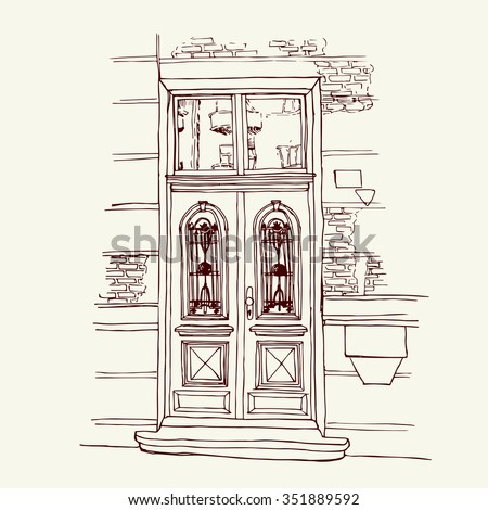 Front Door Drawing vector illustration old house venice italy stock vector 259086950