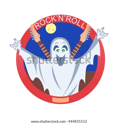 Vector illustration of the ghost with guitars. - stock vector