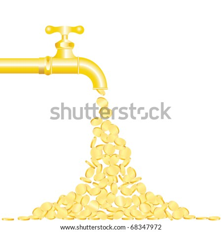 vector illustration of the golden coins falling from tap - stock vector